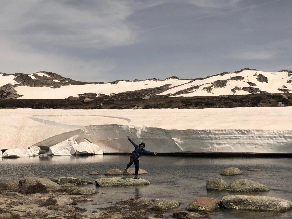 Kosciusko & Figure Jumping across Lake